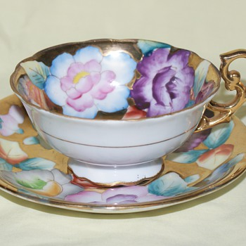 Cup and Saucer:  Trimont China, Hand Painted, Made in Occupied Japan