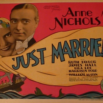 """Just Married"" Lobby Card 1928 Anne Nichols"