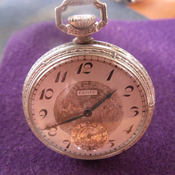 14K White Gold Elgin Pocket Watch - Pocket Watches