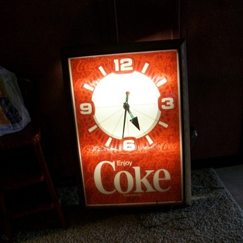 Large Lighted Coke Clock - Coca-Cola
