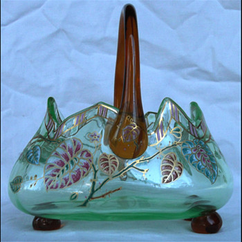 ENAMELED GLASS BASKET - BOHEMIAN ?? FRENCH ?????? - Art Glass