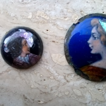 Two Very Small French Miniature Emaille Portraits  - Art Deco