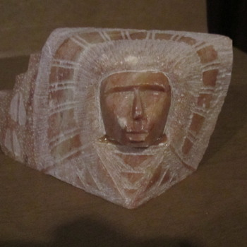"Carved Onyx Tribal Face Head Dress of Chief. Possibly Mexico..3x5"" - Native American"