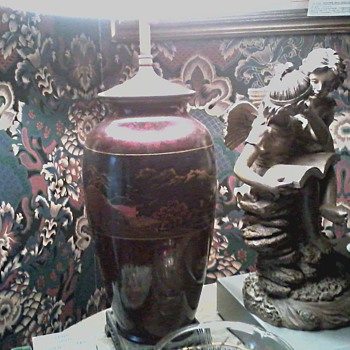 "My Grandmother's Japanese Hand Painted Lacquer Lamp / Circa"" As Long as I Can Remember """