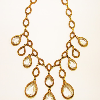 Vintage Goldette Clear Bezel Drop Bib Necklace - Costume Jewelry