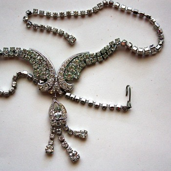 Vintage rhinestone necklace,  1940s