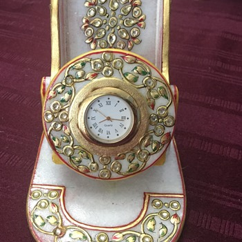 Marble and gold embellished clock - Clocks