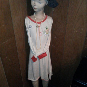 My antique mannequin. Not sure how old she is she is made of plaster.