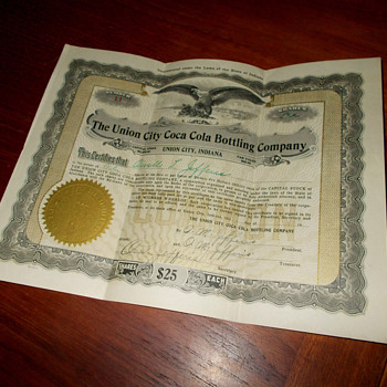 Coca-Cola Stock Certificate