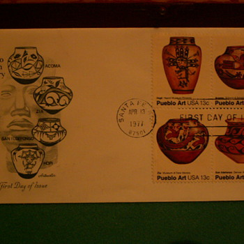 "1977 Pueblo Indian Pottery ""First Day of Issue"" Envelope & Stamps - Stamps"
