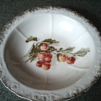 Sevres China Co. East Liverpool Ohio / Cherries Pattern Serving Bowl / Circa 1900-1908