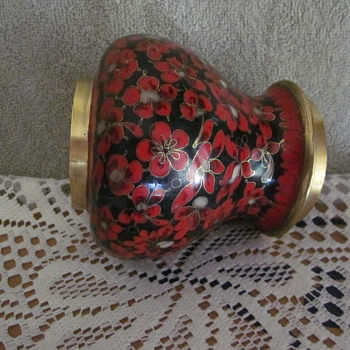 Rare Kuo Cloisonne Brass Enamel Temple Style Ginger Jar Red Flowers