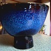 Japanese Art Pottery Bowl /Intense Cobalt Blue Drip Glaze / Unknown Maker and Age