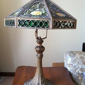 Antique Green & Caramel Slag Glass Arts & Crafts Lamp  - Lamps