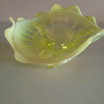 Yellow. Lime Vaseline Glass  ?Candy Dish - Art Glass