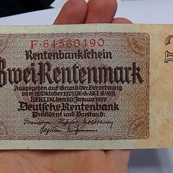 Zwei Rentenmark from Nazi Germany