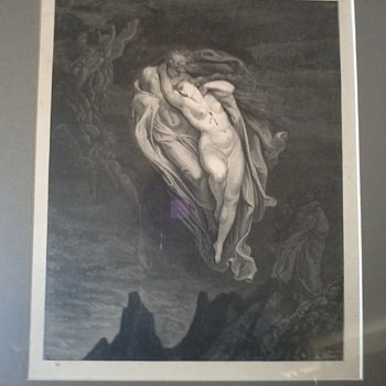 "Gustave Dore Etching by Engraver Pannemaker, from Inferno Canto 5, ""The Unfortunate Love of Paolo and Francesca"""