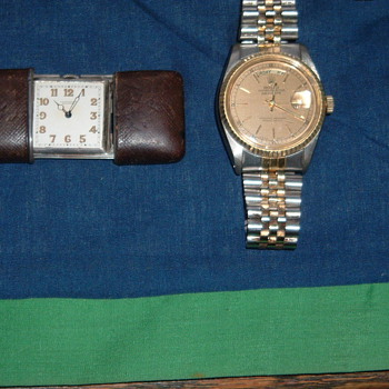 Vintage Rolex & Curious Tiny Watch in Leather Case - Wristwatches