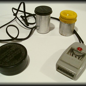 Vintage PHOTOGRAPHY THINGS ( Film Cans, meter, Movie Can )