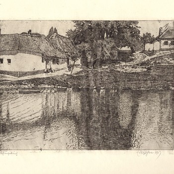 Landscape etching 1907 - Visual Art
