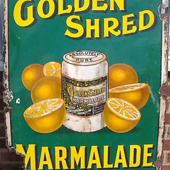 antique roertsons golden shred enamel sign