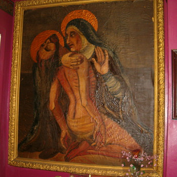 Antique Very Large Painting Of Jesus&Mary