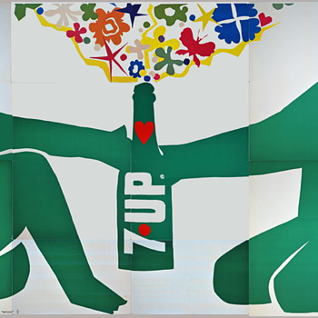 (4) 21'x10' vintage 7Up UnCola billboard posters, 1971 - Advertising