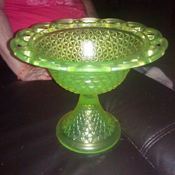 Depression glass footed bowl