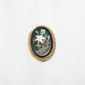 Pietra Dura Antique Brooch