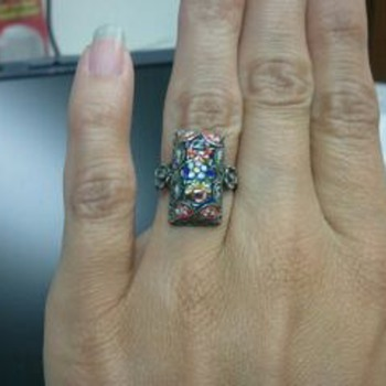 Sterling filigree and micro mosaic ring - needs repair