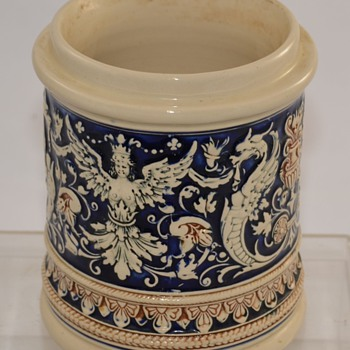 Antique Cermanic Blue German? Pottery Crock Stoneware with Makers Mark Unknown - Art Pottery