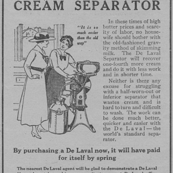 1919 - DeLaval Cream Separator Advertisement - Advertising