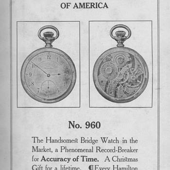 1909 - Hamilton No. 960 Watch Advertisement