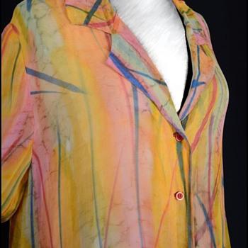 Vintage 1960s Trippy Hippy Acid Trip Sheer Swimsuit Coverup