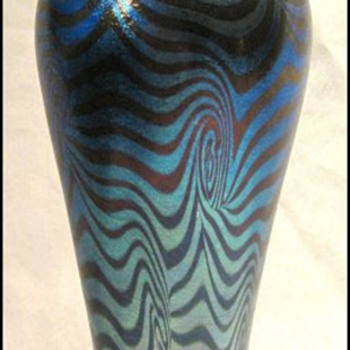 Tall Blue Durand King Tut Vase c. 1925