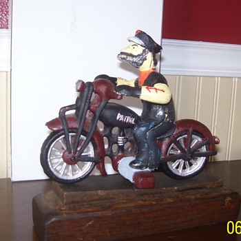 Cast Iron Motorcycle,Figure, and Stand - Model Cars
