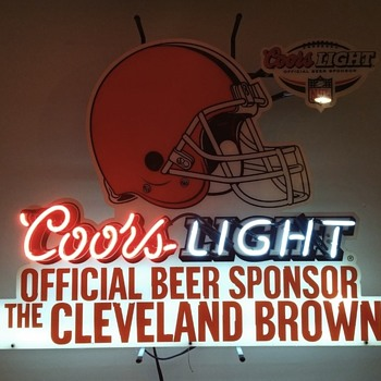cleveland browns nfl neon bar sign coors light - Signs