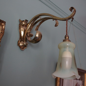 Art Nouveau Opaline Wall Lamp
