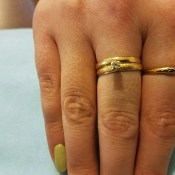 1 Vintage Wedding Band (est 1920 - 1930) and 50th Anniversary 'replacement wedding set