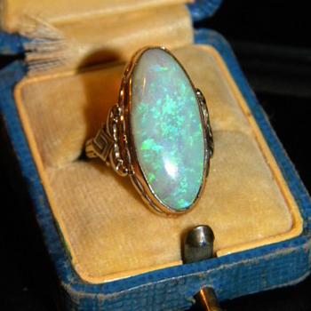 Antique Victorian Fire Jelly Opal 10k Ring 26mm x 12.5mm - Fine Jewelry
