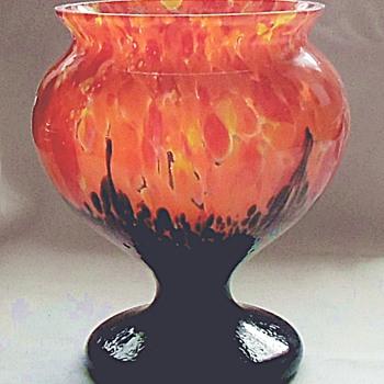 New Rückl Glass Coupe Dish Orange Shimmy Blue Flau Decor - Excellent! - Art Glass