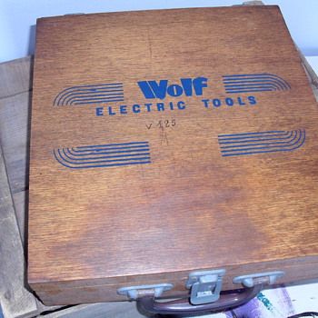Wolf  wooden tool box.