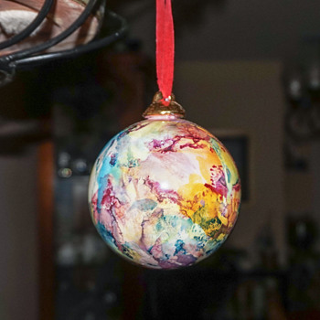 Marbleized Glass Ornament