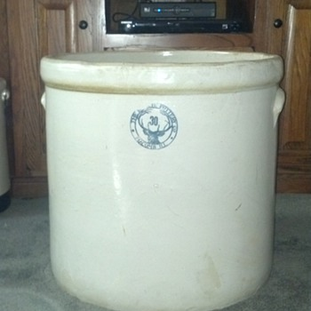 30 Gallon Buckeye Pottery Crock - Art Pottery