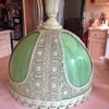 Unknown green slag glass lamp