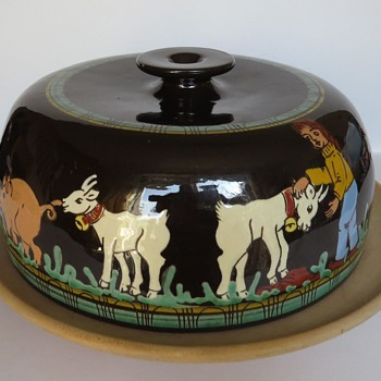 Swiss Pottery Cheese Cover - signed W A Heimberg