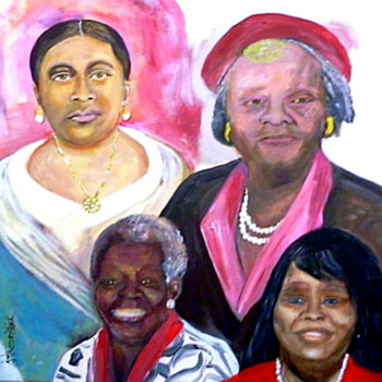 Four Generation Portrait Painting using Acrylic  medium on gallery canvas - Visual Art