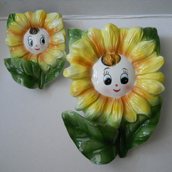 Anthropomorphic Sunflower Wall Pockets - Art Pottery