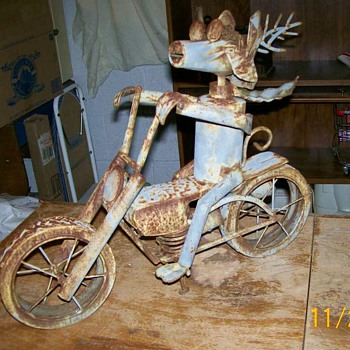 Folk Art Harley Hog Metal Motorcycle  - Motorcycles