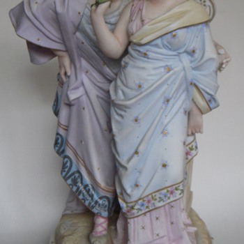 Bisque Porcelain Figures, Man and Woman w/Urn, Large~Handpainted~Unsigned - Victorian Era